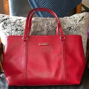 Dana Buchman red faux leather handbag
